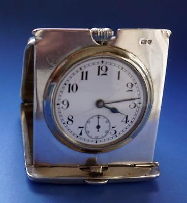 Travel Clock Swiss Movement in Silver Case Hallmarked