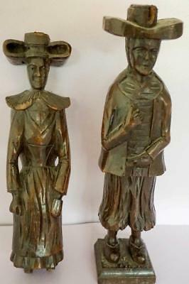 Antique Pair of Wooden Carved Figures Dutch or Purtitan Costume