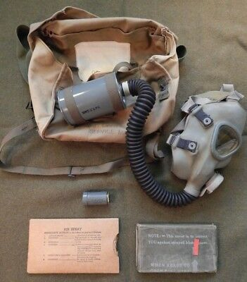 WWII U.S. Army M3 Lightweight Service Gas Mask, W/ Khaki M6 Carrier, Excellent