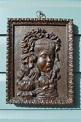 Superb original antique hand carved oak wall panel of young girl circa.1820