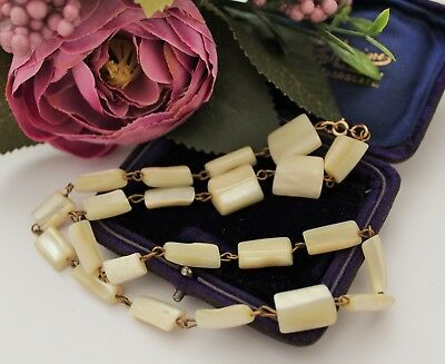 VINTAGE 1940s 50s MOTHER OF PEARL NECKLACE WITH 12k GOLD FILLLED CLASP