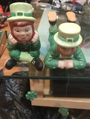 2 Vintage 80s St Patrick's Day Leprechaun Fishing Shamrocks Figure Lot