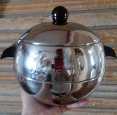 VINTAGE West Bend PENGUIN Hot or Cold ICE BUCKET w BAKELITE HANDLES Chrome 1960s