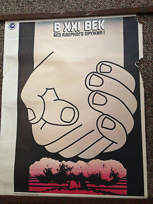 "Vintage Atomic Bomb Cold War Russian 22"" x 17-1/2"".Poster"