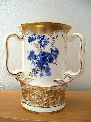 Royal Doulton  BURSLEM TYG WITH BLUE FLOWERS AND GOLD ACCENTS Made 1890's