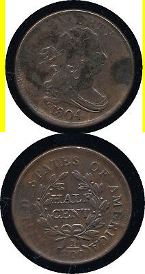 1804 Crosslet 4 With Stems Draped Bust Half Cent- Higher Grade- No Reserve