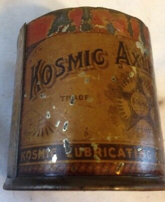 Rare Antique Vintage Kosmic Axle Grease Tin Can Lubricating Oil Co Easton Pa