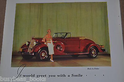 1934 BUICK advertisement, Buick convertible coupe, Color photo, modern flapper