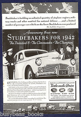 1942 STUDEBAKER advertisement, photo of Studebaker President Eight