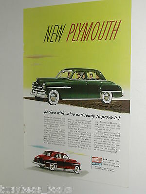 1950 Plymouth ad, 4-door sedan, color art