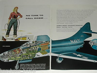 1955 Grumman Aircraft 2 page advert, F9F-8 Cougar,with  ROSIE the RIVETER