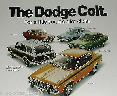 1974  DODGE COLT advertisement, Dodge Colt 5 models, GT, wagon, coupe, sedan