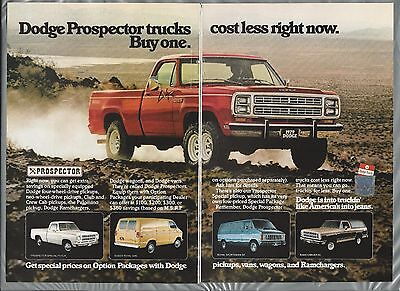 1979 Dodge PROSPECTOR Pickup 2 page advertisement Prospector pickup truck ad van