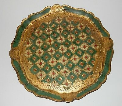 """Large 13.5"""" Vintage Italian Florentine Gilt Wooden Tray Green Cream & Red Italy"""