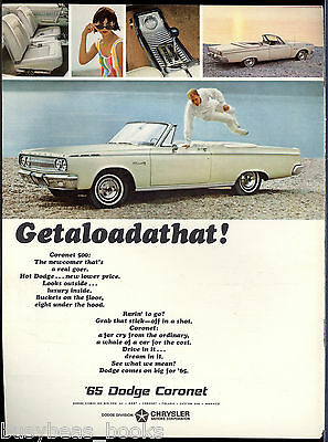 1965 DODGE CORONET advertisement, white Coronet convertible