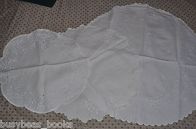 ROUND DOILIES x3, handmade, pierced work, candlewicking table covers