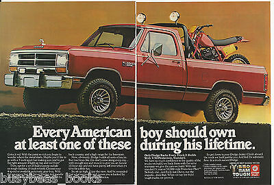 1985 DODGE RAM Pickup 2-page advertisement, Dodge full-size 4x4 pickup