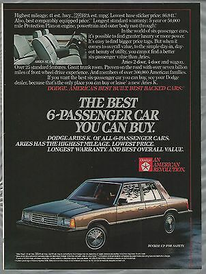 1984 DODGE ARIES K advertisement, Chrysler ad, Aries K-Car