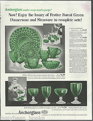1954 ANCHOR HOCKING Bubble pattern advertisement, Forest Green color, large size