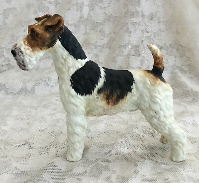 "Vintage Wire Hair Fox Terrier Dog Figurine Andrea by Sadek Statue Japan- 5"" tall"