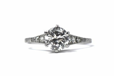 Antique Art Deco ~1.3Ct Round Diamond Platinum Engagement Wedding Ring Size 8