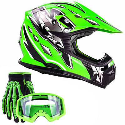 Youth Kids Motocross Helmet Green Gloves Goggles Motorcycle DOT ATV