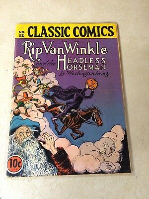 Classic Comics - Illustrated #12 Rip Van Winkle Headless Horseman 1943 - 1St Ed