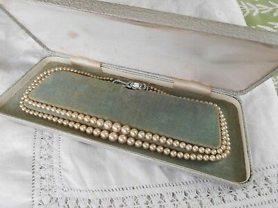 Stunning Vintage 1950s Double Strand Glass Pearl Necklace in vintage box