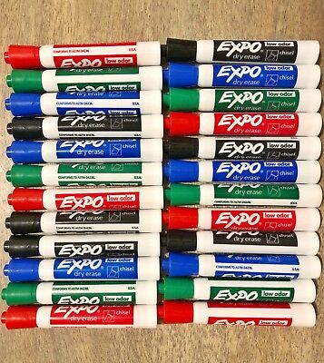 24 Expo Original Dry Erase Markers Chisel Tip Assorted Lot, Black Blue Green Red