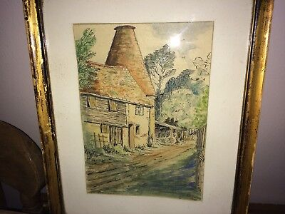 Framed & Glazed Signed Ink And Water Colour Painting Of The Old Oast House 1949