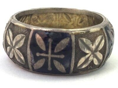 Vintage Antique Ring Band Enamel Silver Tone Metal Etched Floral Women'S Size 6
