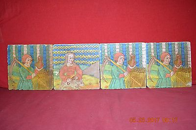FOUR Antique Hand Painted  Women / Farmer Color Tiles