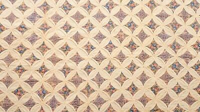 """Antique 1800's Feedsack Fabric Cathedral Window Cotton Quilt 98"""" x 76"""""""