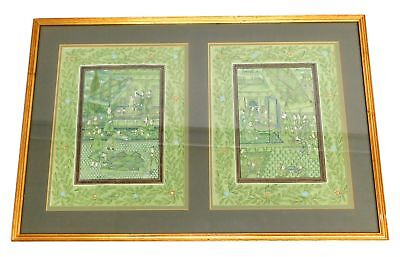 2 Panel Middle Eastern TEXTILE PAINTED PRINTS, Framed - F18