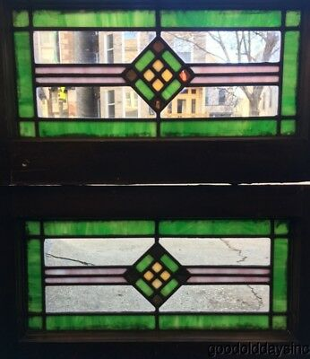 "Small Pair of Antique Stained Leaded Glass Transom Windows 22"" by 12"""
