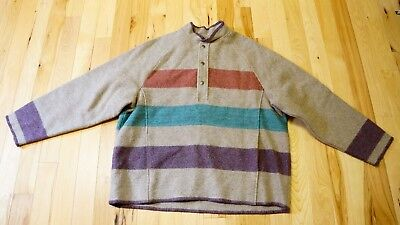 Vintage Woolrich Hudson Bay Style Striped Wool Pullover Jacket Men's Lg