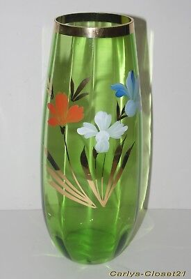 "BEAUTIFUL LARGE VINTAGE GREEN GLASS VASE * Hand Painted * 12"" (30cm) Tall *"