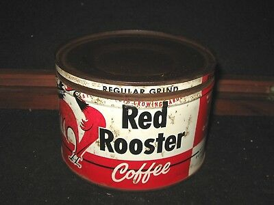 Antique Red Rooster Coffee Hopkins Mn 1 Lb Tin Can Grocery Old