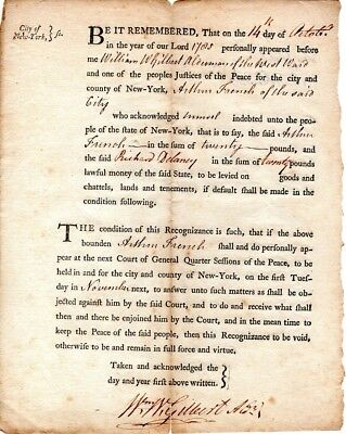 1785, New York, Silversmith, Patriot, William Gilbert signed recognizance bond