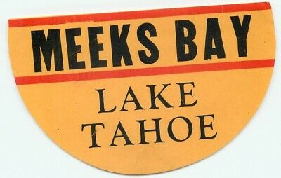 Meeks Bay Lake Tahoe California Vintage Hotel Travel Luggage Label