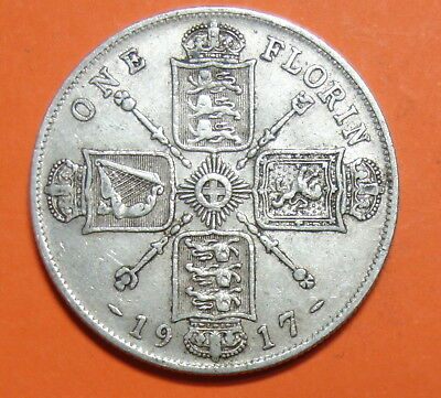 Great Britain  Florin. 1917.   0.925.  Silver.