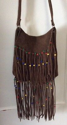 Vintage Native American beaded Brown Suede leather fringed purse Bag