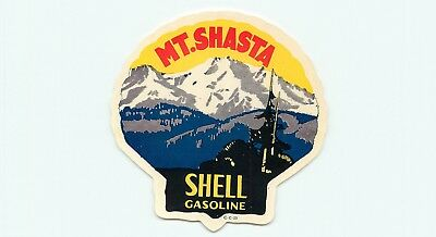 Mt Shasta California Shell Gasoline Great Old Travel  Label