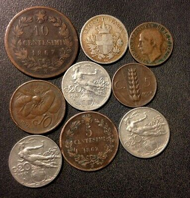 OLD ITALY COIN LOT - 1867-1926 - 9 Excellent Collectible Coins - Lot #F19