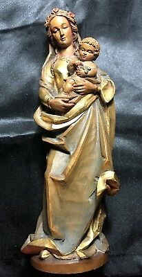 "Anri Italy 9.5"" Carved Wood Virgin Mary Madonna Carrying Child Jesus Statue"