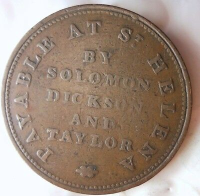 1821 ST. HELENA HALF PENNY - EXTREMELY RARE TYPE - Huge Value - Lot #F19