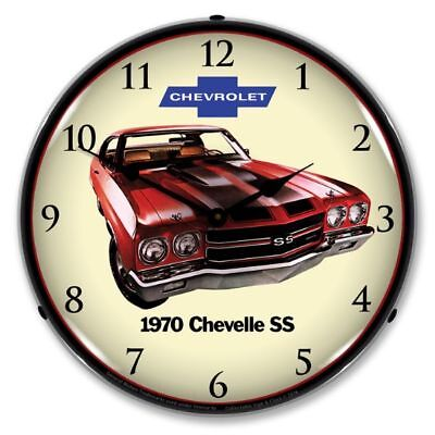 "14"" Double Bubble 1970 Chevrolet Chevelle SS BackLit Garage Clock GM1701717"