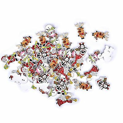 50Pcs Angel Christmas Theme Shape Mixed Buttons Crafts Card Scrapbooking Sewing