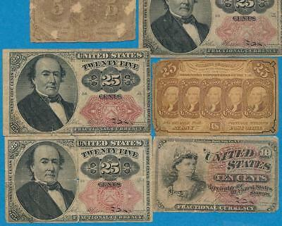 10 Note Mixed  Fractional Lot Dealer Rejects  Imperfect / Low Grade