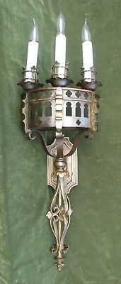 """LG 33""""H Vintage Gothic Castle Spanish Revival  Brass Copper Iron Wall Sconce"""